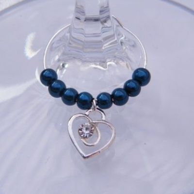 Clear Sparkle Swirl Heart Wine Glass Charm - Beaded Style